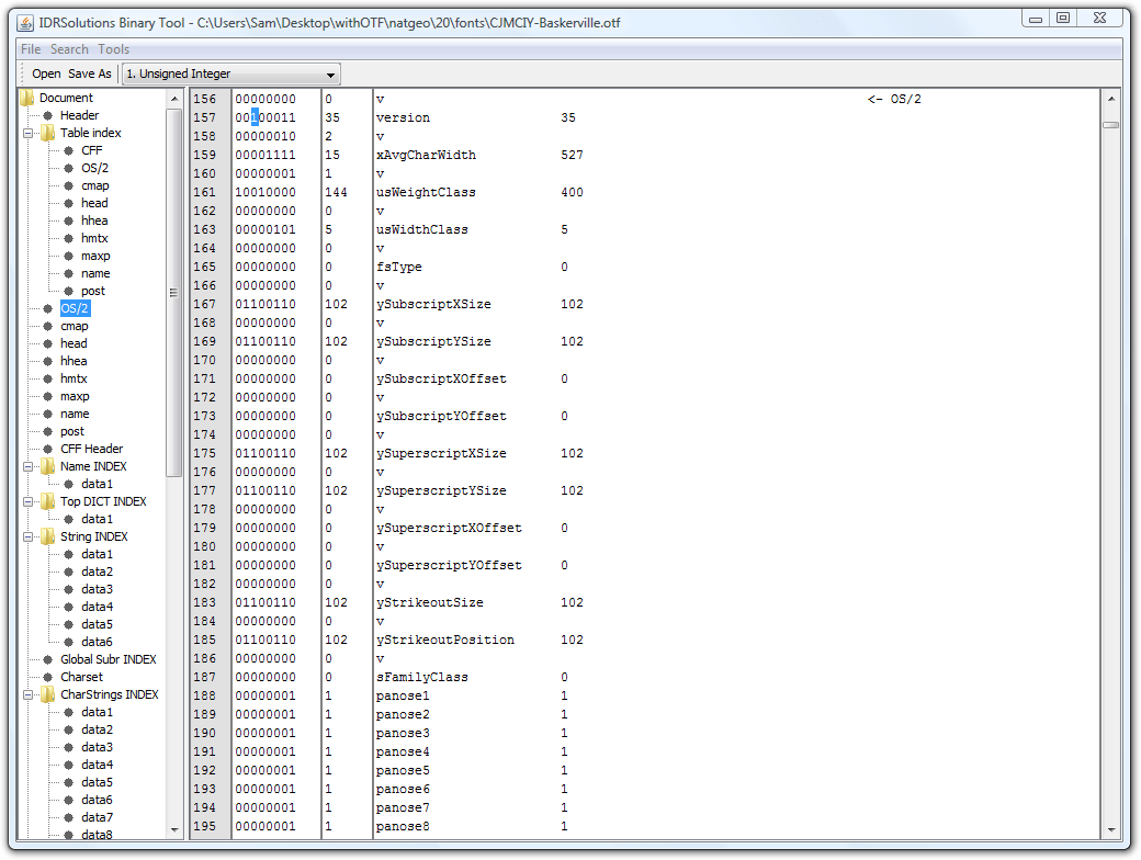 BinaryTool with the problematic bit selected.