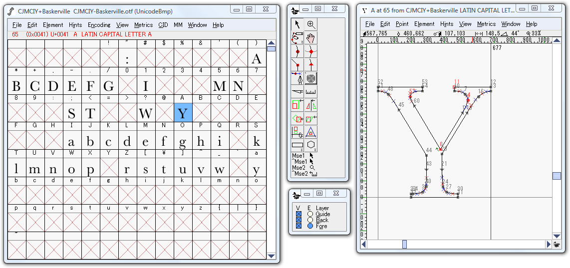 FontForge's main view and a single glyph's display.