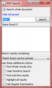 Regular Expression Search Option