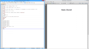 The HelloWorld PDF in both Notepad++ and Adobe Reader