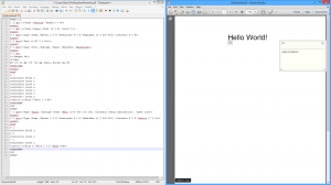 The updated file in Notepad++ and Adobe Reader