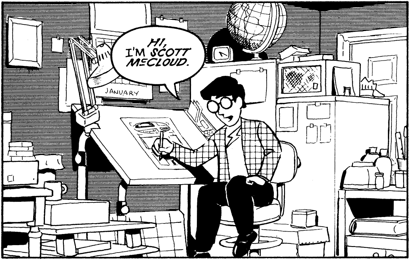 Scott McCloud introduces himself in graphic form.