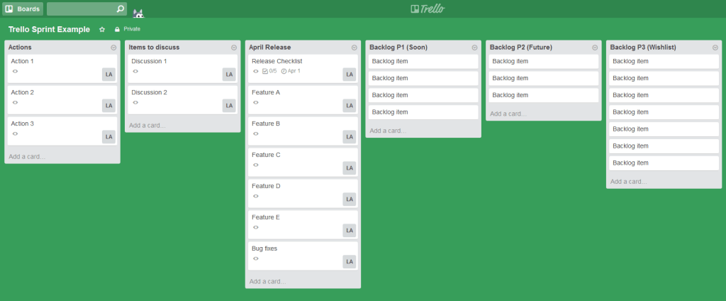Trello Sprint Example