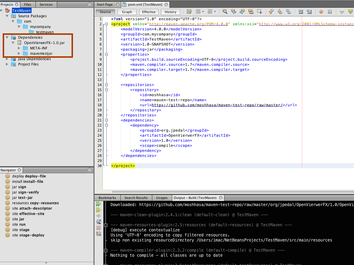 How to use GitHub hosted Maven artifact in NetBeans IDE