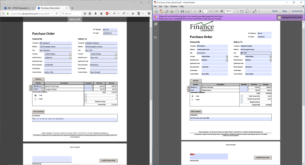 Convert Acrobat Forms and Resave (XFA to HTML5 left, Acrobat Right)