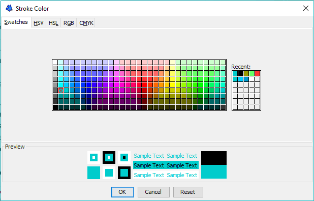 The colour selection window